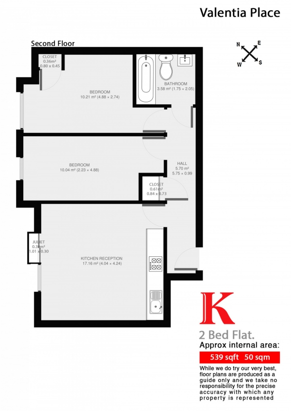 Floor Plan Image for 2 Bedroom Flat to Rent in Coldharbour Lane, London, London SW9