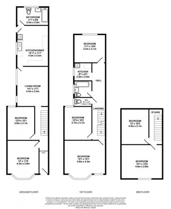 Floor Plan Image for 1 Bedroom House Share to Rent in Claude Rd, Roath - room share (GroundFloor Middle Bedroom)