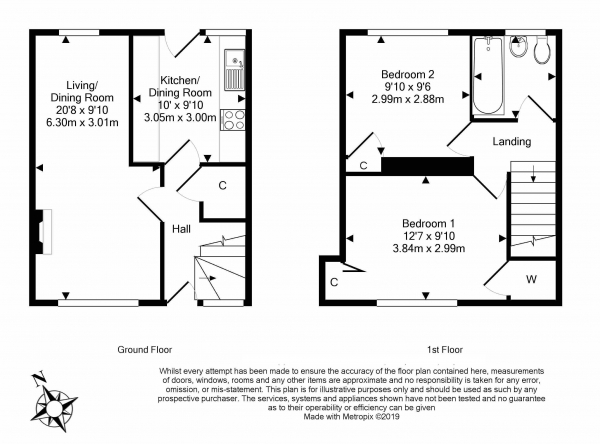 Floor Plan Image for 2 Bedroom Terraced House for Sale in 13 Oxenfoord Avenue, Pathhead, EH37 5QD