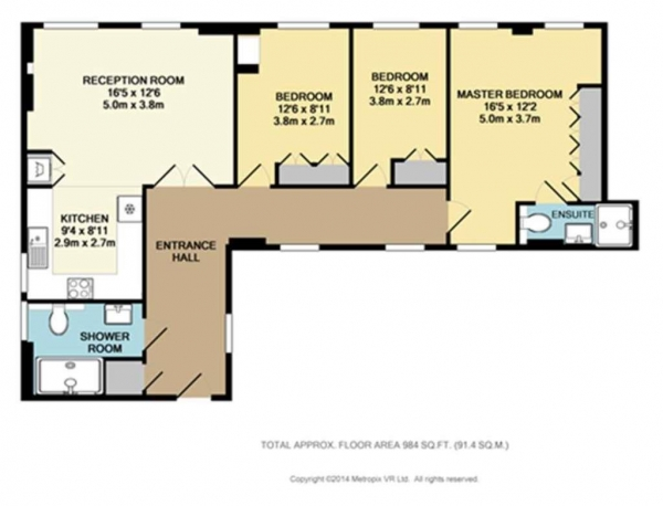 Floor Plan Image for 3 Bedroom Apartment to Rent in Chiltern Court, Baker Street, Marylebone, NW1