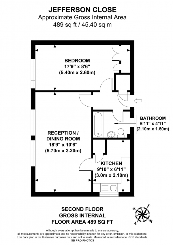 Floor Plan Image for 1 Bedroom Apartment for Sale in Jefferson Close, W13