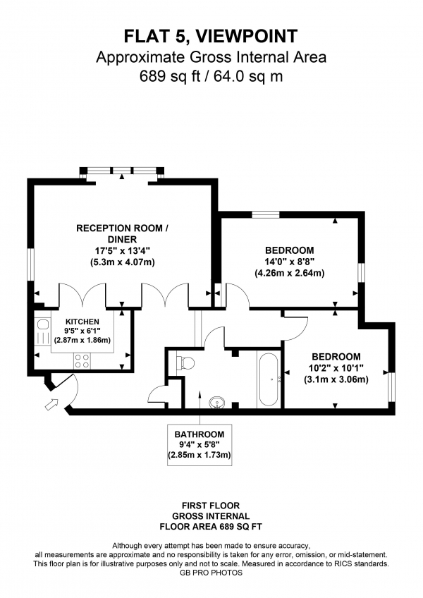 Floor Plan Image for 2 Bedroom Flat for Sale in North Common Road, W5
