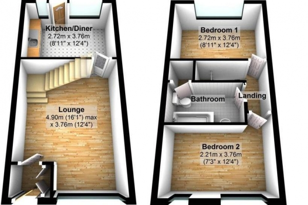 Floor Plan Image for 2 Bedroom Terraced House for Sale in Orchard Close, Plympton, PL7 2GT