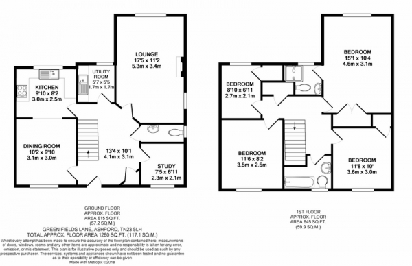 Floor Plan Image for 4 Bedroom Detached House for Sale in Green Fields Lane, Highland Park, TN23