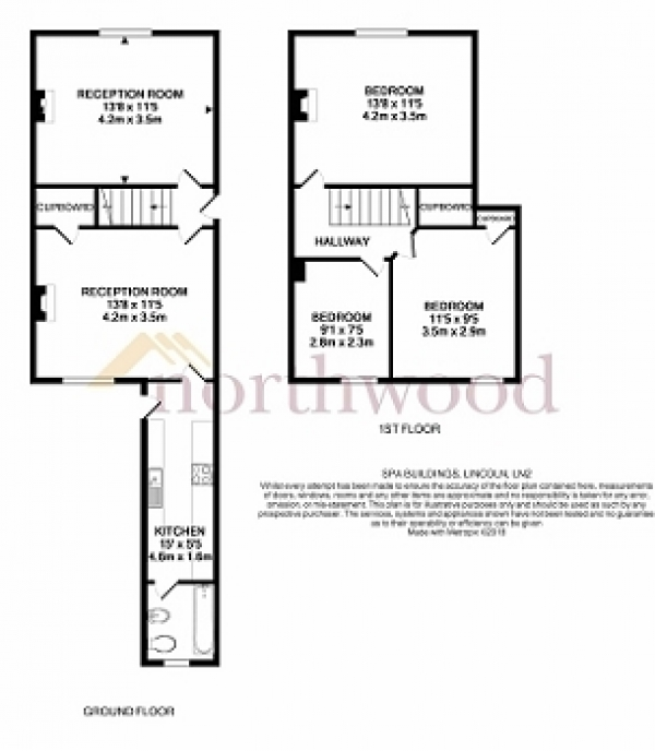 Floor Plan Image for 3 Bedroom Terraced House for Sale in Spa Buildings, Lincoln, LN2