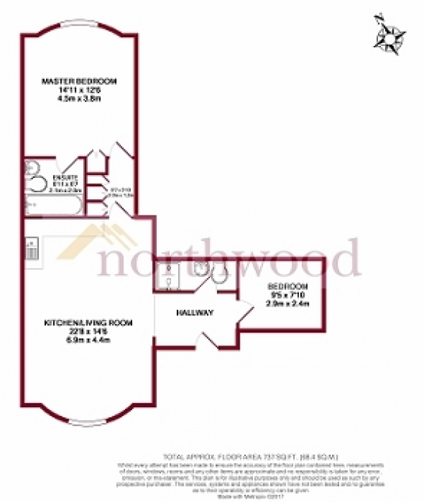 Floor Plan Image for 2 Bedroom Flat to Rent in Kings Road, Reading