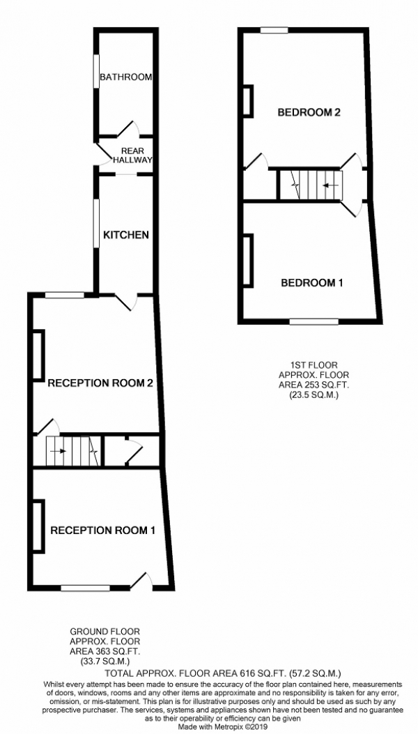 Floor Plan Image for 2 Bedroom Terraced House for Sale in 20 Silverdale Road, Newcastle, Staffs, ST5 2TB