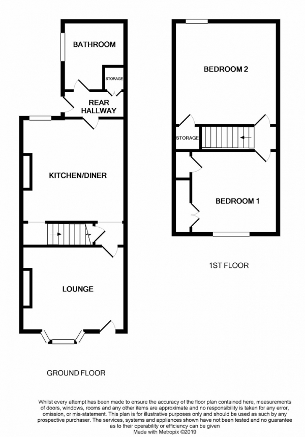Floor Plan Image for 2 Bedroom Terraced House for Sale in 10 Buxton Street, Sneyd Green, Stoke on Trent, Staffordshire, ST1 6BN