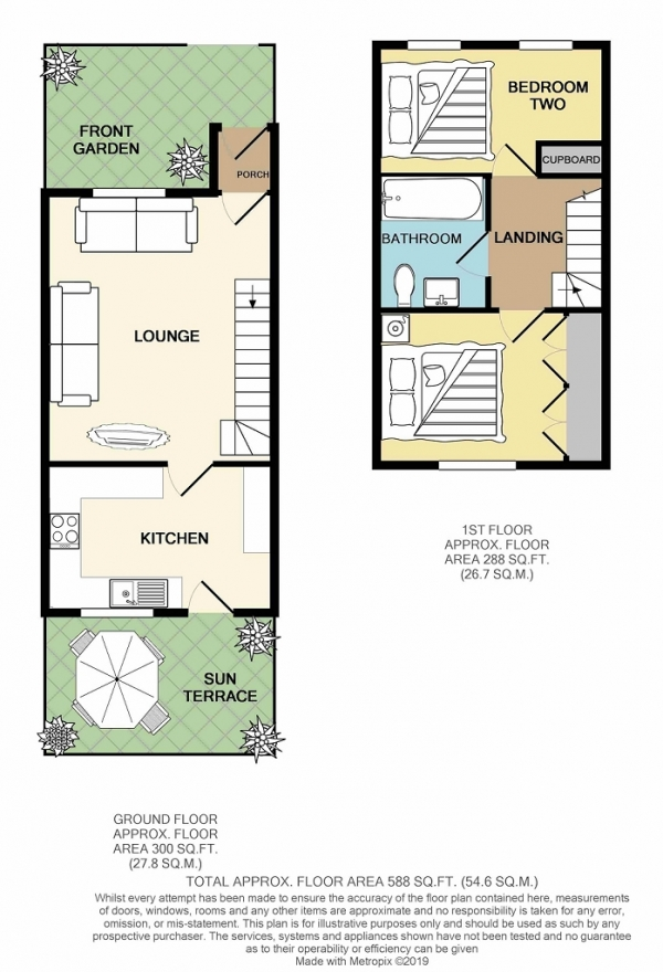 Floor Plan Image for 2 Bedroom Terraced House for Sale in Blenheim Close, Warminster, Wiltshire, BA12