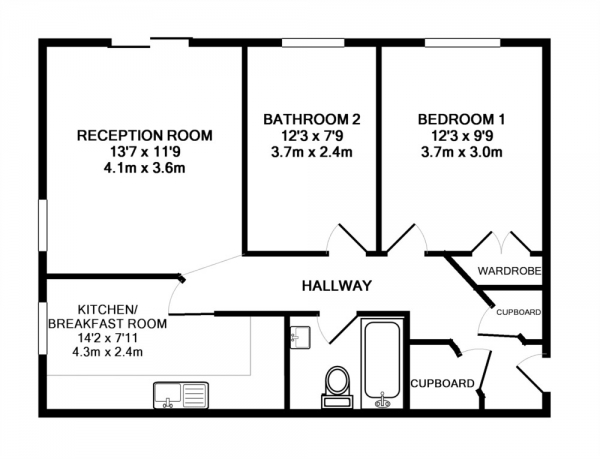 Floor Plan Image for 2 Bedroom Apartment to Rent in Delfont Close, Maidenbower, Crawley