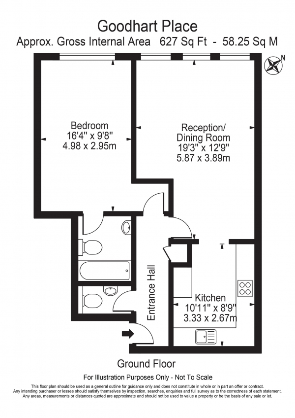 Floor Plan Image for 1 Bedroom Apartment for Sale in Goodhart Place Horseferry Road Limehouse E14