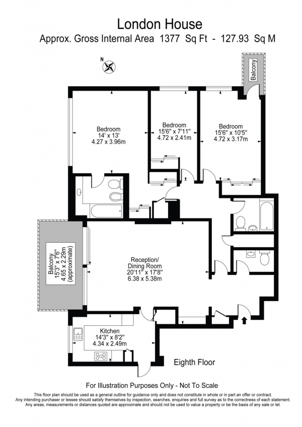 Floor Plan Image for 3 Bedroom Apartment for Sale in London House, St Johns Wood NW8