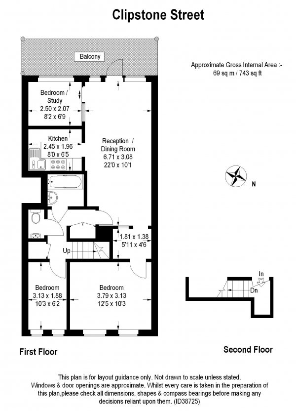 Floor Plan Image for 3 Bedroom Apartment for Sale in Holcroft Court, Fitzrovia W1