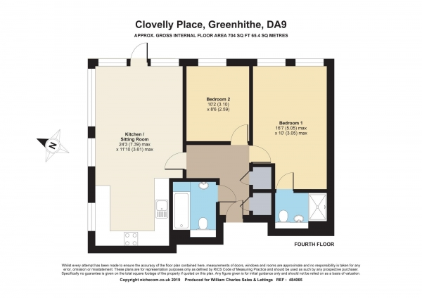 Floor Plan Image for 2 Bedroom Apartment for Sale in Clarinda House, Ingress Park