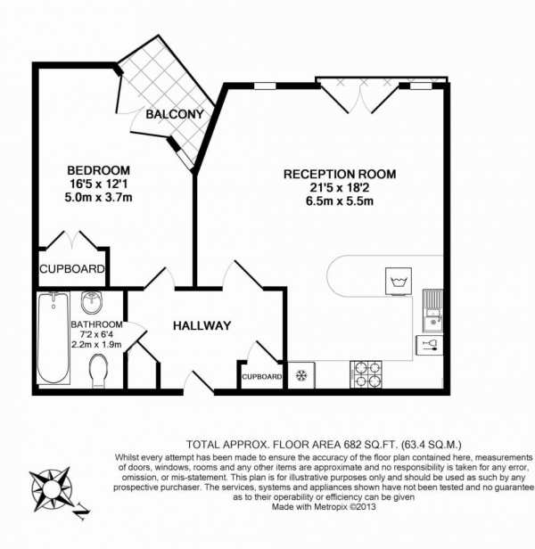 Floor Plan Image for 1 Bedroom Apartment to Rent in The Island, Brentford